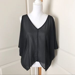 TOBI Sheer Black Cold Shoulder Top SZ SMALL